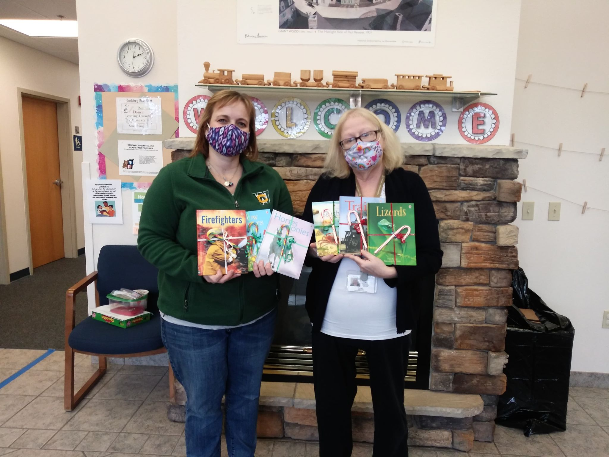 Keeley Bauer, an independent consultant with Usborne Books & More, donated books to Reedsburg Headstart Programs. In addition, residents gave money to go toward the purchase of books. Thanks to the donations, Bauer was able to receive a matching grant of 50 percent from the company. Seen here are Bauer and Sheila Pickel, early childhood supervisor for Sauk County Headstart Programs.