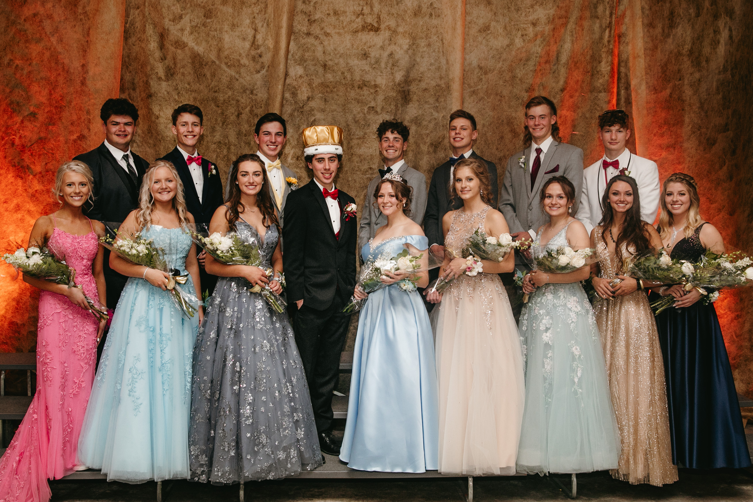 The senior court included, back row from left, David Finkel, Keith Curtin, Garrett Schincker, Zach Bestor, Connor Schyvinck, Hunter Dempsey and Liam Greenwood; front row from left, Jenna Thieding, Claire Adelman, Delaney Horkan, Olivia Klingbeil, Isabel Severson, Jaylyn Jynek and Daylia Barreau. Dan Ely was king, and Danielle Peyer was queen.