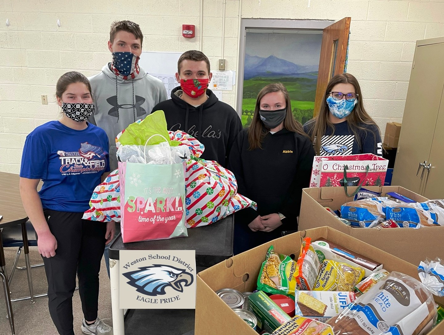 Weston's National Honor Society hosted its giving tree around Christmas. Student representatives include, from left, Ella Spencer, Hunter Schmitt, Hayden VanCoulter, Abbie Spencer and Laurissa Pickel. (Submitted photos)
