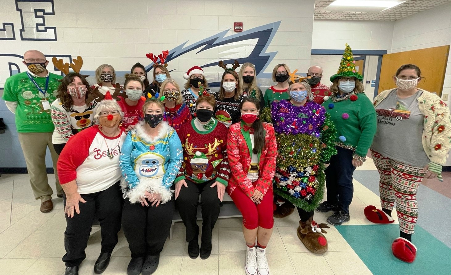 Weston School District held its Ugly Sweater Contest among staff in December. Seen here are all the employees who participated. (Submitted photos)