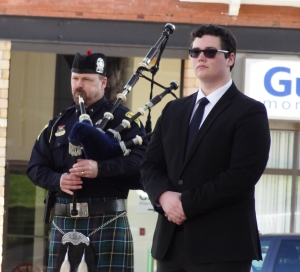 A bagpiper plays while a trumpeter waits to perform taps during the Sauk County Respect for Law Enforcement Day ceremony. (Photos by Heather Stanek)