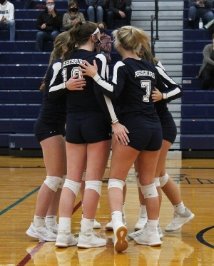 Members of the Reedsburg Beaver volleyball team celebrate a set two win last Thursday night vs. Tomah in WIAA Regional action at RAHS. Reedsburg won its eighth match of the season with a 3-0 win on the home floor. (Photo by Troy Matz)