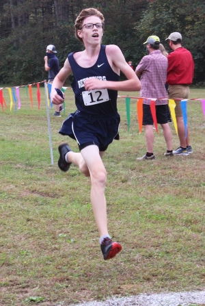 Ben Bruer races hard to the finish line for the Beaver boys cross country team in Saturday's home meet at the Hartje Center. The freshman placed 16th overall in the five-team event which was Reedsburg's first home meet for the season. (Photo by Troy Matz)
