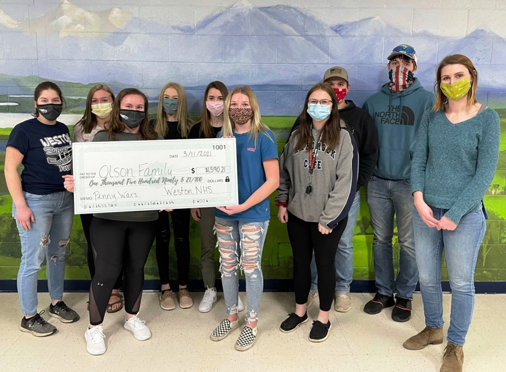 Weston's National Honor Society held a school-wide Penny War from Feb. 18 through March 9 to benefit the Olsen family, a former Weston family...