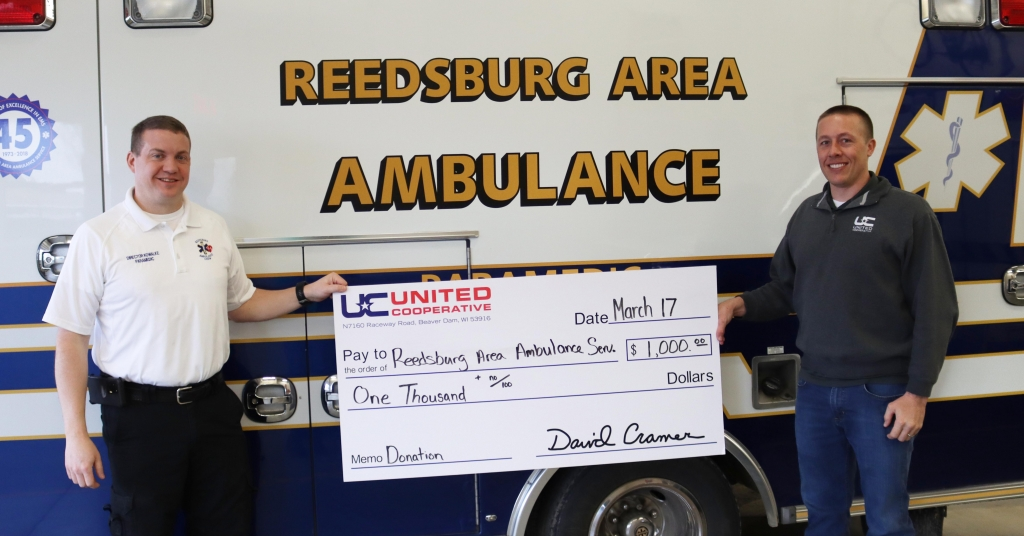 Reedsburg Area Ambulance Service has received a significant donation from United Cooperative to purchase a new ambulance and Stryker PowerLoad system...